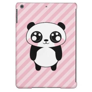 Cute Panda Bear Pink Stripes Background iPad Air Covers