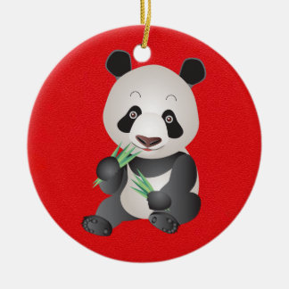Cute Panda Bear Round Ceramic Decoration