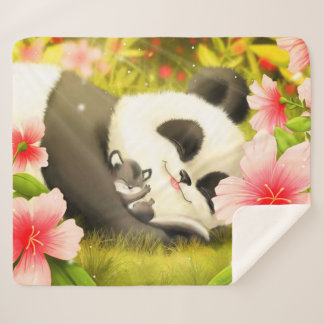 Cute Panda Bear Sherpa Blanket