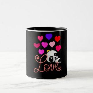 Cute Panda Bear sleeping surrounded by love hearts Two-Tone Mug