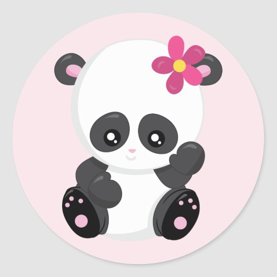 Cute Panda Bear Waving Classic Round Sticker