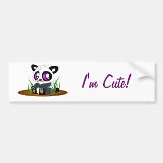 Cute panda bear with mustache on bumper sticker