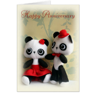 Cute Panda Bears Couple Anniversary Greeting Card