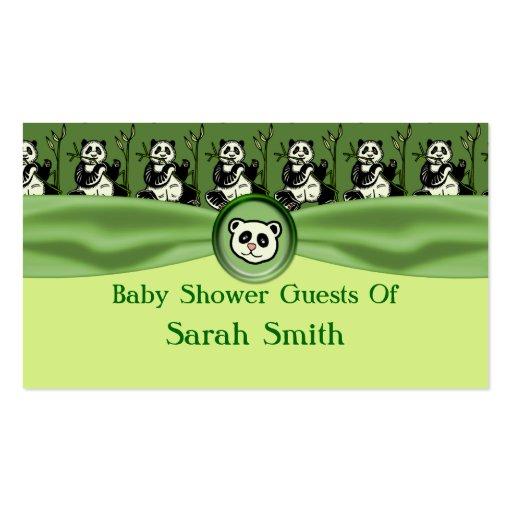 Cute Panda Bears, Green Baby Shower Business Card