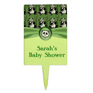 Cute Panda Bears, Green Baby Shower Cake Pick