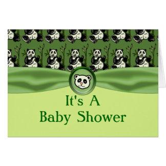 Cute Panda Bears, Green Baby Shower Cards