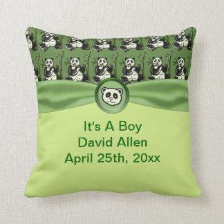 Cute Panda Bears, Green Baby Shower Throw Pillow