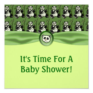 "Cute Panda Bears, Green Baby Shower 5.25"" Square Invitation Card"