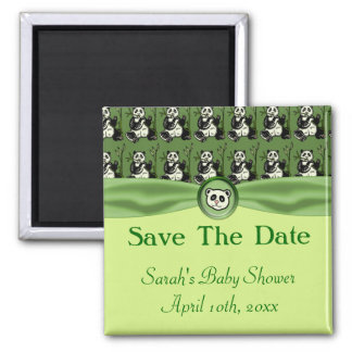 Cute Panda Bears, Green Baby Shower Refrigerator Magnet
