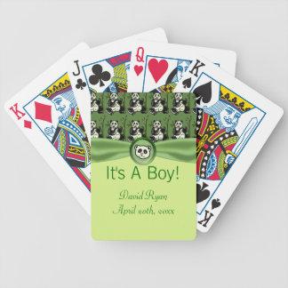 Cute Panda Bears, Green Baby Shower Bicycle Playing Cards