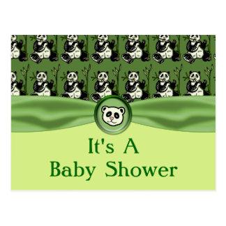 Cute Panda Bears, Green Baby Shower Postcard