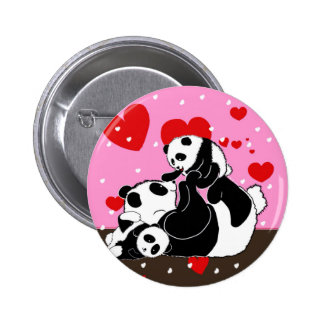 Cute panda bears playing family baby 6 cm round badge