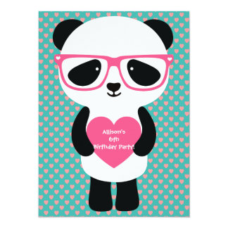 Cute Panda Birthday 14 Cm X 19 Cm Invitation Card