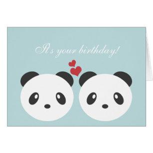 Panda birthday cards invitations zazzle cute panda birthday card bookmarktalkfo Image collections