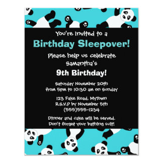 Cute Panda Birthday Sleepover Party Invitation