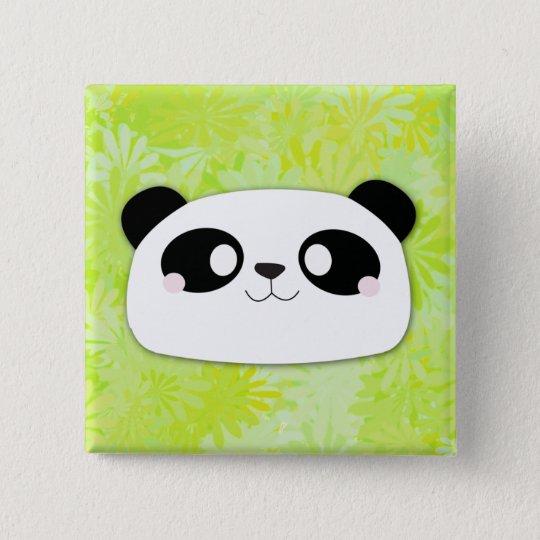 Cute Panda Button (Flower Background)