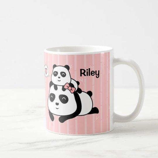 Cute Panda Cub and Mummy Kids Personalised Mug