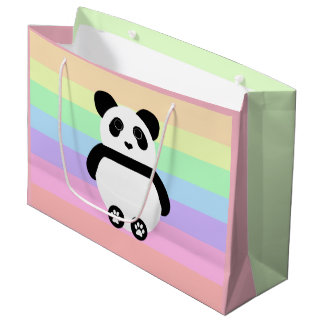 Cute Panda Drawing with Pastel Stripes Large Gift Bag