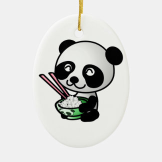Cute Panda Eating Rice from Bowl with Chopsticks Christmas Ornament