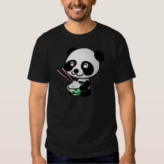 Cute Panda Eating Rice from Bowl with Chopsticks Shirts