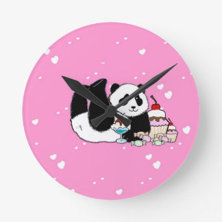 Cute Panda enjoying cakes and sweets pink Round Clock