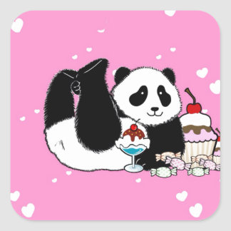 Cute Panda enjoying cakes and sweets pink Square Sticker