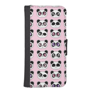 Cute Panda Expressions Pattern Pink iPhone SE/5/5s Wallet Case