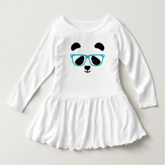 Cute Panda Face Aqua Infant Dress