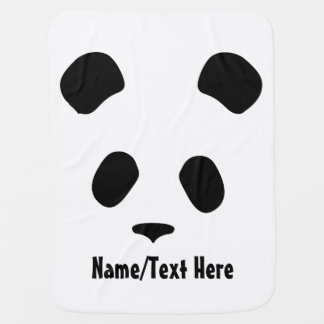 Cute Panda Face Name Customize Baby Blanket