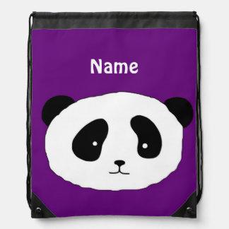 Cute PANDA FACE purple Drawstring Bag