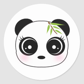 Cute panda face round sticker