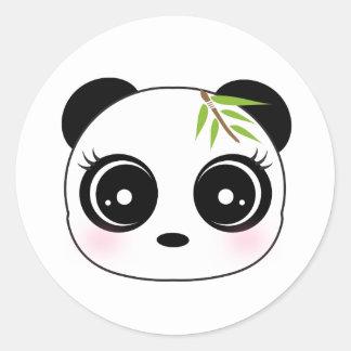 Cute panda face round stickers
