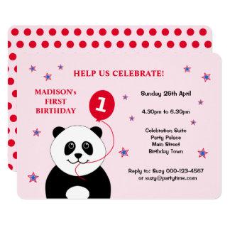 Cute panda first birthday party invitation