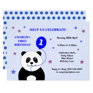 Cute panda first birthday party invitation