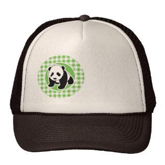 Cute Panda Green Gingham Hat