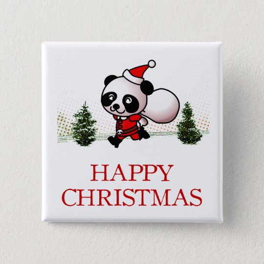Cute Panda Happy Christmas 15 Cm Square Badge