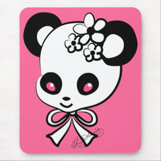 Cute Panda  Head On Pink Mouse Pad