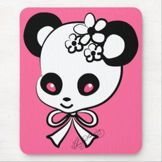 Cute Panda Head On Pink Mousepad