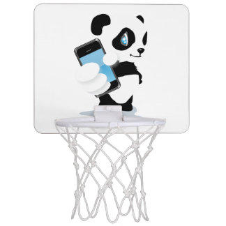 Cute Panda holding a smartphone cartoon Mini Basketball Hoop