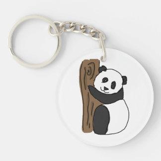 Cute Panda In A Tree, Digital Trawing Key Chains