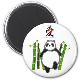 Cute panda ink drawing love 6 cm round magnet