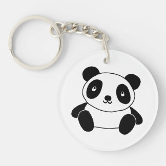 Cute Panda Double-Sided Round Acrylic Key Ring