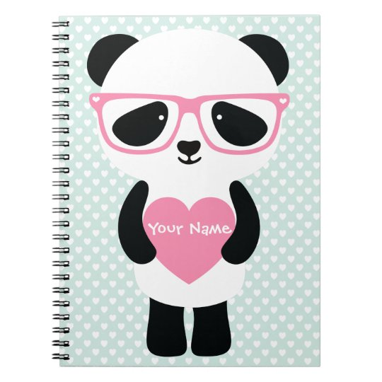 Cute Panda Mint/Pink Spiral Notebook