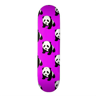 Cute Panda; Neon Purple, Black & White Skate Board