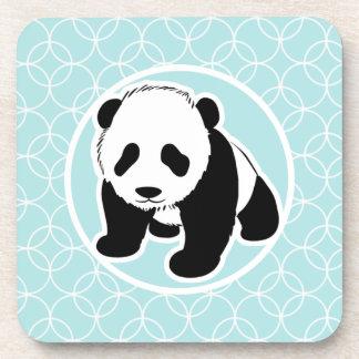 Cute Panda on Baby Blue Circles Coaster