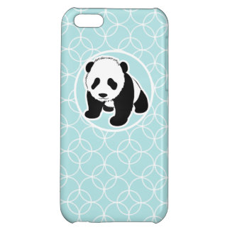 Cute Panda on Baby Blue Circles iPhone 5C Cases