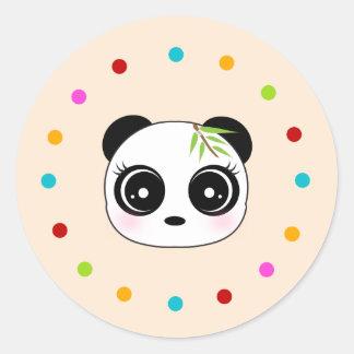 Cute panda, polka dot circle round sticker