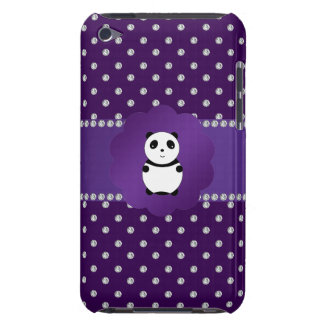 Cute panda purple diamonds iPod touch case