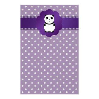 Cute panda purple diamonds stationery design