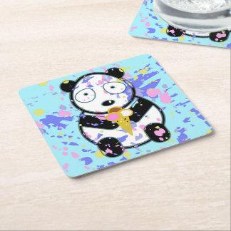 Cute Panda Square Paper Coaster